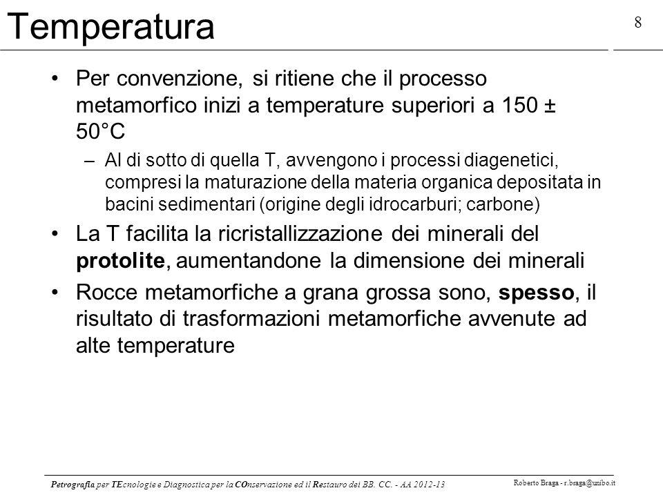 Petrografia per TEcnologie e Diagnostica per la COnservazione ed il Restauro dei BB. CC. - AA 2012-13 Roberto Braga - r.braga@unibo.it 8 Temperatura P