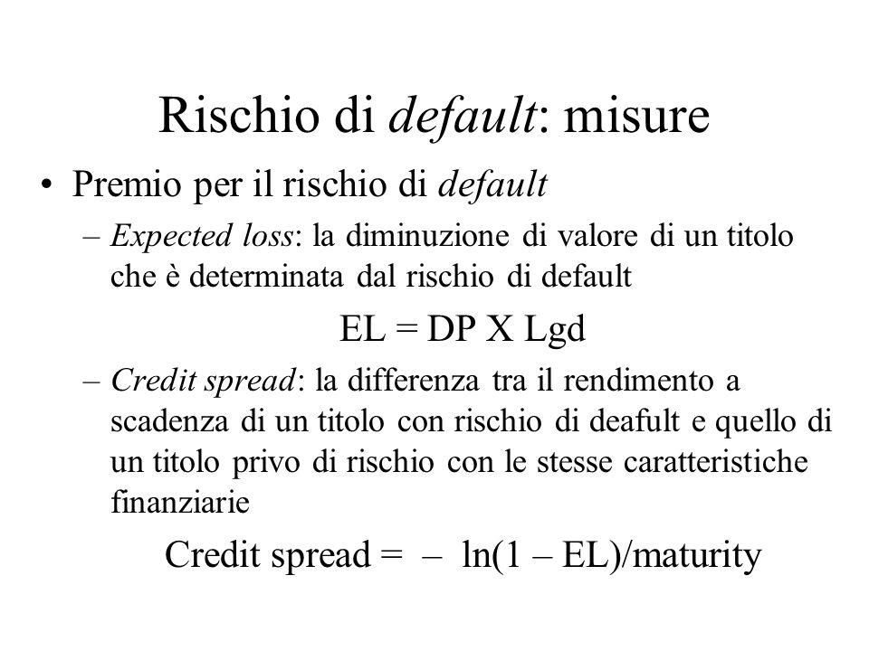 Soluzione Dal prezzo di mercato del capitale, cioè 30, possiamo calcolare la probabilità di sopravvivenza da 30 = Q 40 + (1 - Q) 0, cosicché Q = 0.75 e la probabilità di default aggiustata per il rischio è 0.25 Il debito è valutato come Q 80 + (1 – Q) 40 = 70 Dal teorema di Modigliani-Miller calcoliamo il valore del progetto come: V = 70 + 30 = 100 N.B.