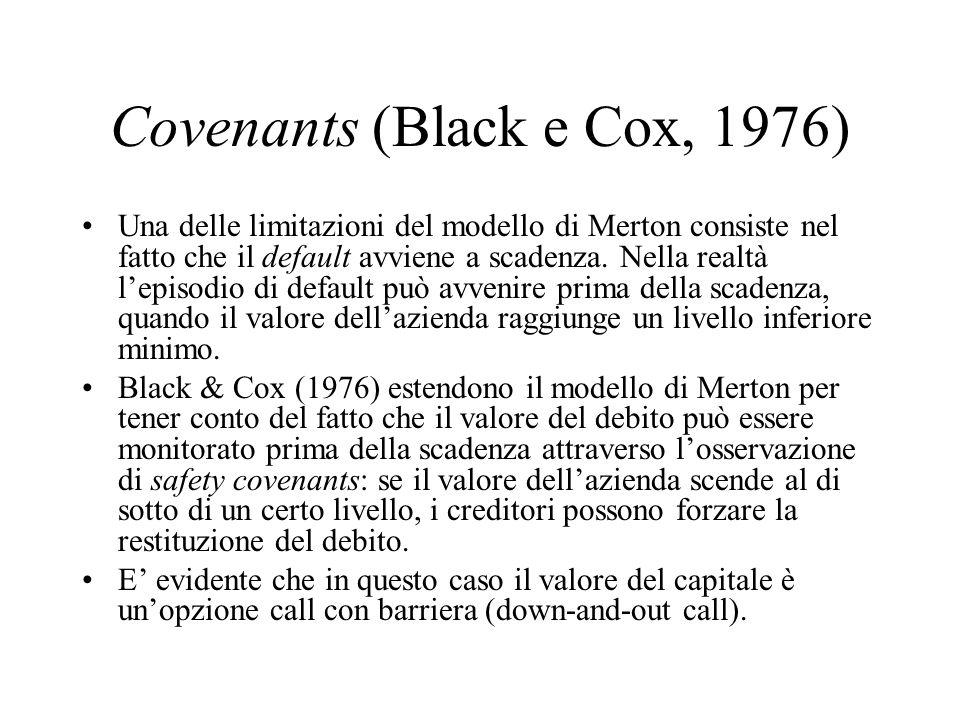 Covenants (Black e Cox, 1976) Una delle limitazioni del modello di Merton consiste nel fatto che il default avviene a scadenza.