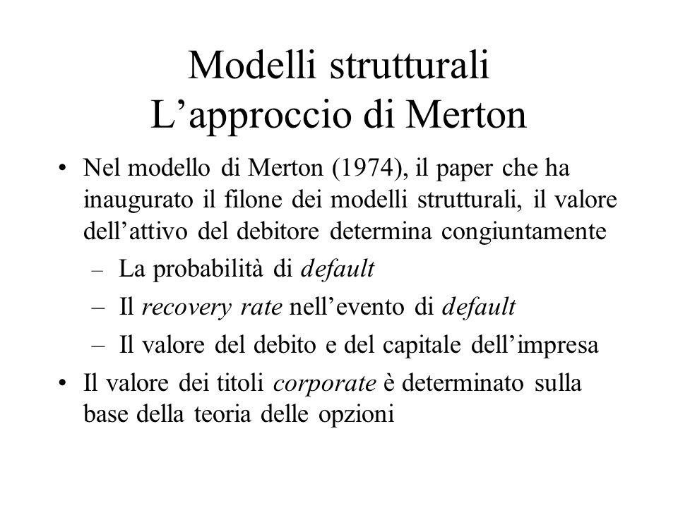 Modelli strutturali Lapproccio di Merton Nel modello di Merton (1974), il paper che ha inaugurato il filone dei modelli strutturali, il valore dellattivo del debitore determina congiuntamente – La probabilità di default – Il recovery rate nellevento di default – Il valore del debito e del capitale dellimpresa Il valore dei titoli corporate è determinato sulla base della teoria delle opzioni