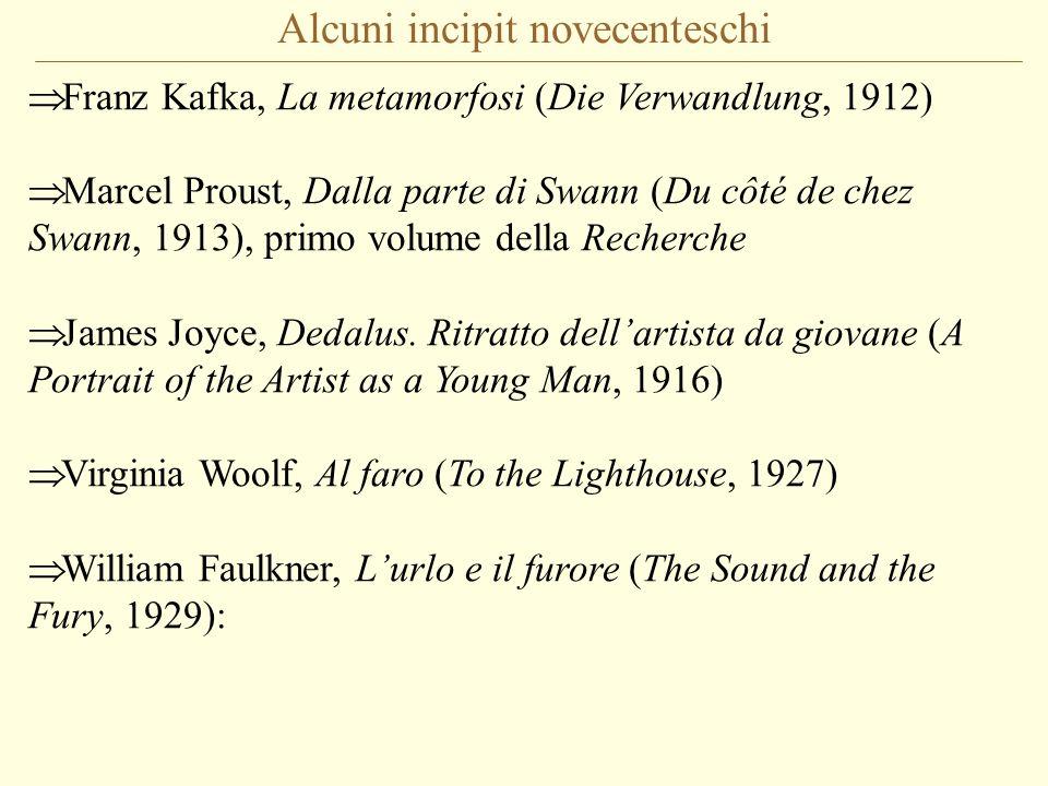 Alcuni incipit novecenteschi Franz Kafka, La metamorfosi (Die Verwandlung, 1912) Marcel Proust, Dalla parte di Swann (Du côté de chez Swann, 1913), pr