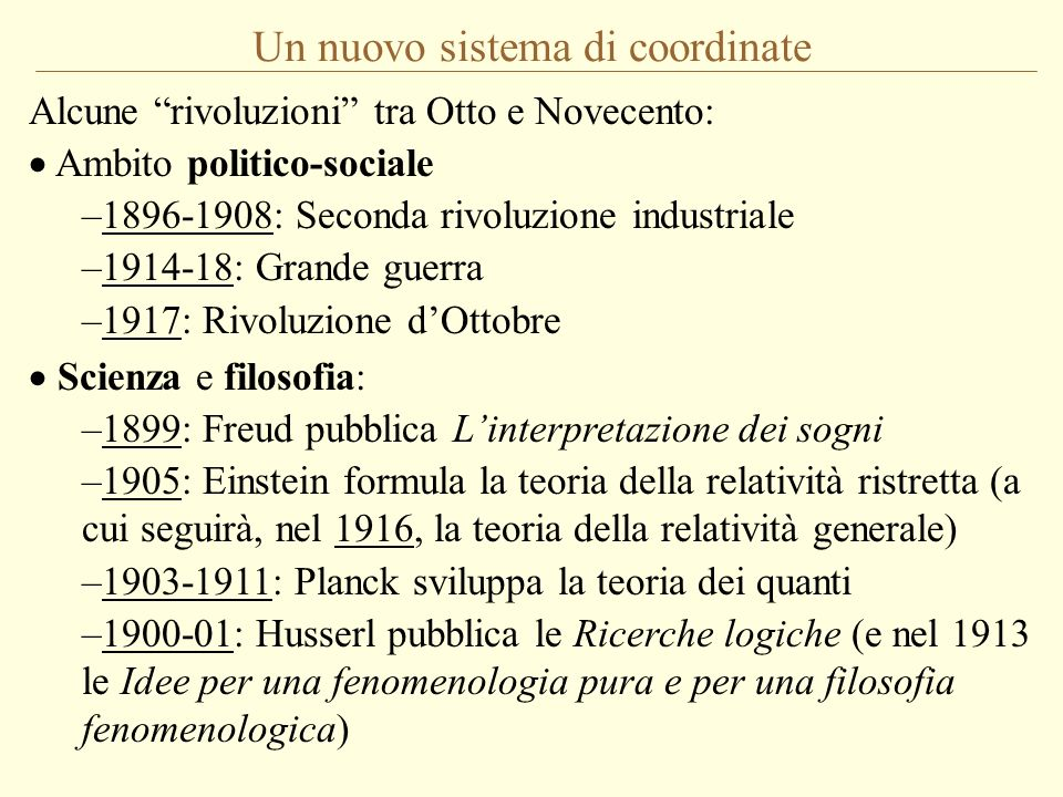 Un nuovo sistema di coordinate Alcune rivoluzioni tra Otto e Novecento: Ambito politico-sociale –1896-1908: Seconda rivoluzione industriale –1914-18: