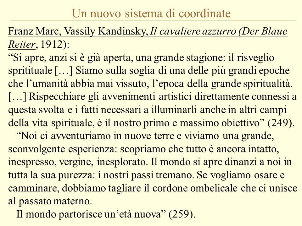 Un nuovo sistema di coordinate Franz Marc, Vassily Kandinsky, Il cavaliere azzurro (Der Blaue Reiter, 1912): Si apre, anzi si è già aperta, una grande