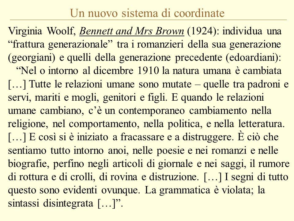 Un nuovo sistema di coordinate Virginia Woolf, Bennett and Mrs Brown (1924): individua una frattura generazionale tra i romanzieri della sua generazio