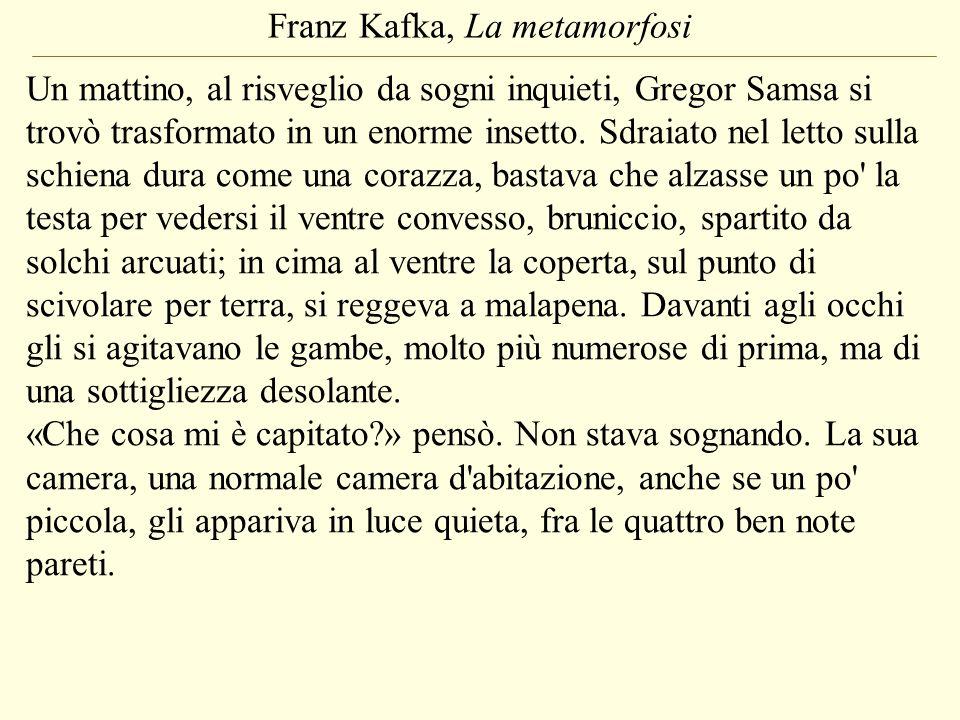 Franz Kafka, La metamorfosi Un mattino, al risveglio da sogni inquieti, Gregor Samsa si trovò trasformato in un enorme insetto. Sdraiato nel letto sul