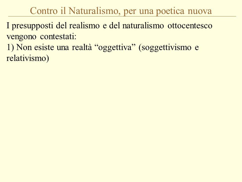 Contro il Naturalismo, per una poetica nuova I presupposti del realismo e del naturalismo ottocentesco vengono contestati: 1) Non esiste una realtà og