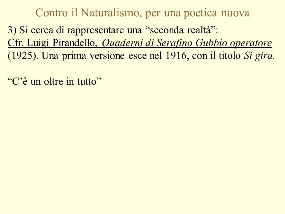 Contro il Naturalismo, per una poetica nuova 3) Si cerca di rappresentare una seconda realtà: Cfr. Luigi Pirandello, Quaderni di Serafino Gubbio opera