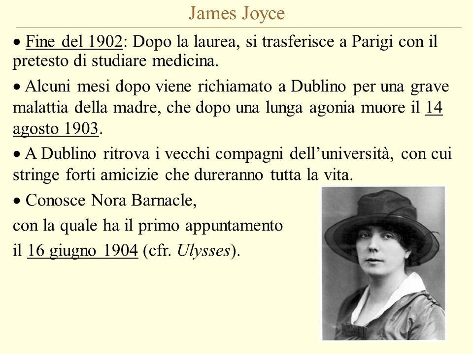 James Joyce Fine del 1902: Dopo la laurea, si trasferisce a Parigi con il pretesto di studiare medicina. Alcuni mesi dopo viene richiamato a Dublino p