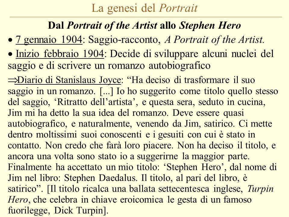 La genesi del Portrait Dal Portrait of the Artist allo Stephen Hero 7 gennaio 1904: Saggio-racconto, A Portrait of the Artist. Inizio febbraio 1904: D