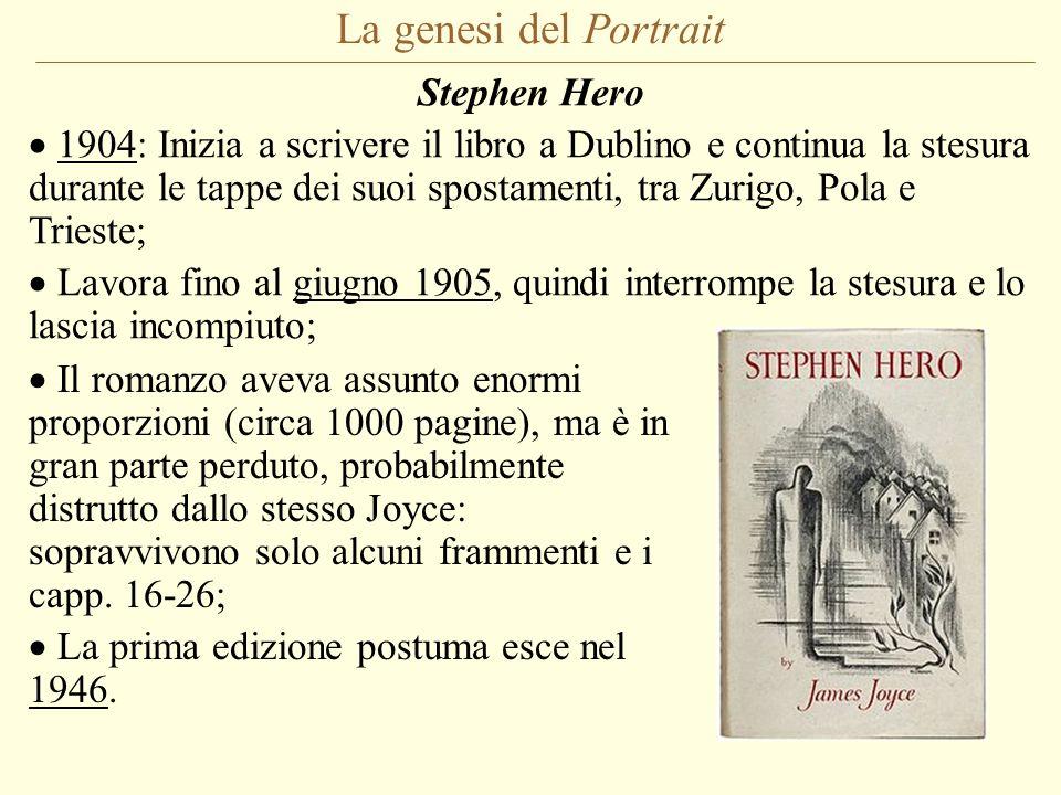 La genesi del Portrait Stephen Hero 1904: Inizia a scrivere il libro a Dublino e continua la stesura durante le tappe dei suoi spostamenti, tra Zurigo