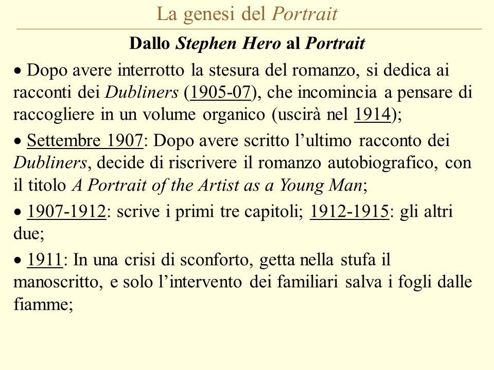La genesi del Portrait Dallo Stephen Hero al Portrait Dopo avere interrotto la stesura del romanzo, si dedica ai racconti dei Dubliners (1905-07), che