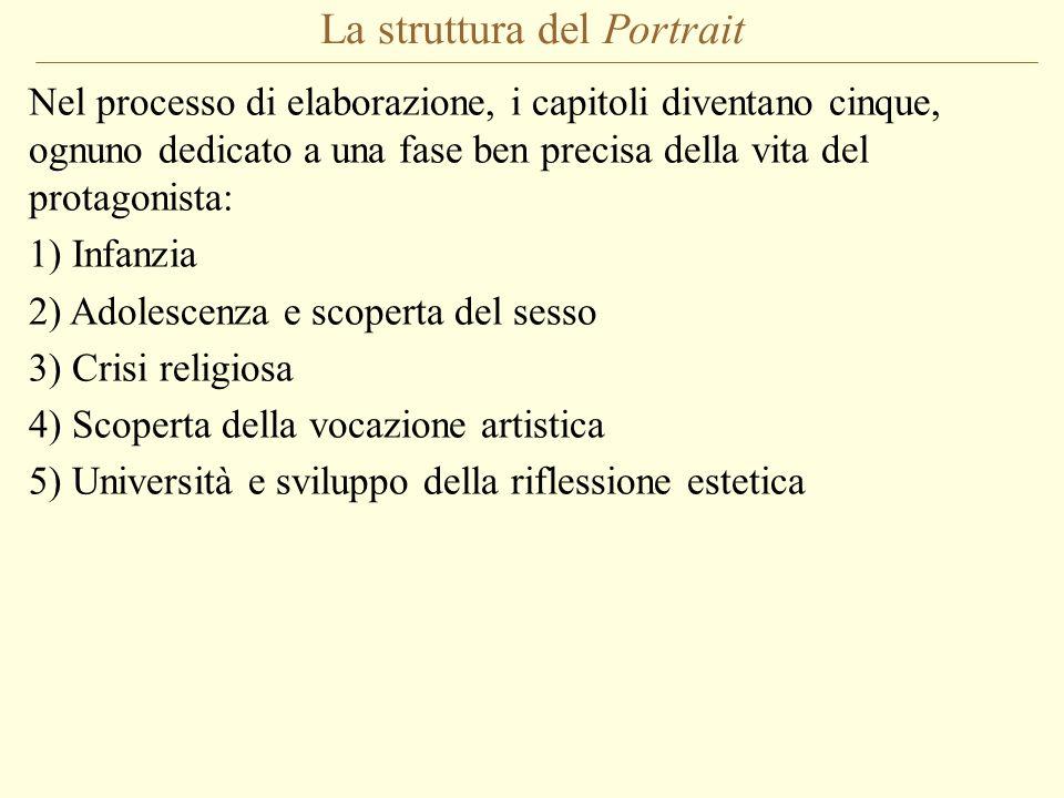 La struttura del Portrait Nel processo di elaborazione, i capitoli diventano cinque, ognuno dedicato a una fase ben precisa della vita del protagonist