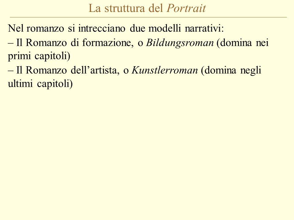 La struttura del Portrait Nel romanzo si intrecciano due modelli narrativi: – Il Romanzo di formazione, o Bildungsroman (domina nei primi capitoli) –