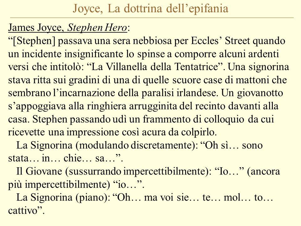 Joyce, La dottrina dellepifania James Joyce, Stephen Hero: [Stephen] passava una sera nebbiosa per Eccles Street quando un incidente insignificante lo