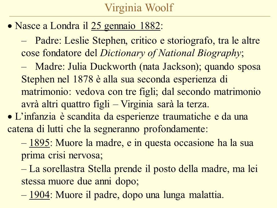 Virginia Woolf Nasce a Londra il 25 gennaio 1882: –Padre: Leslie Stephen, critico e storiografo, tra le altre cose fondatore del Dictionary of Nationa