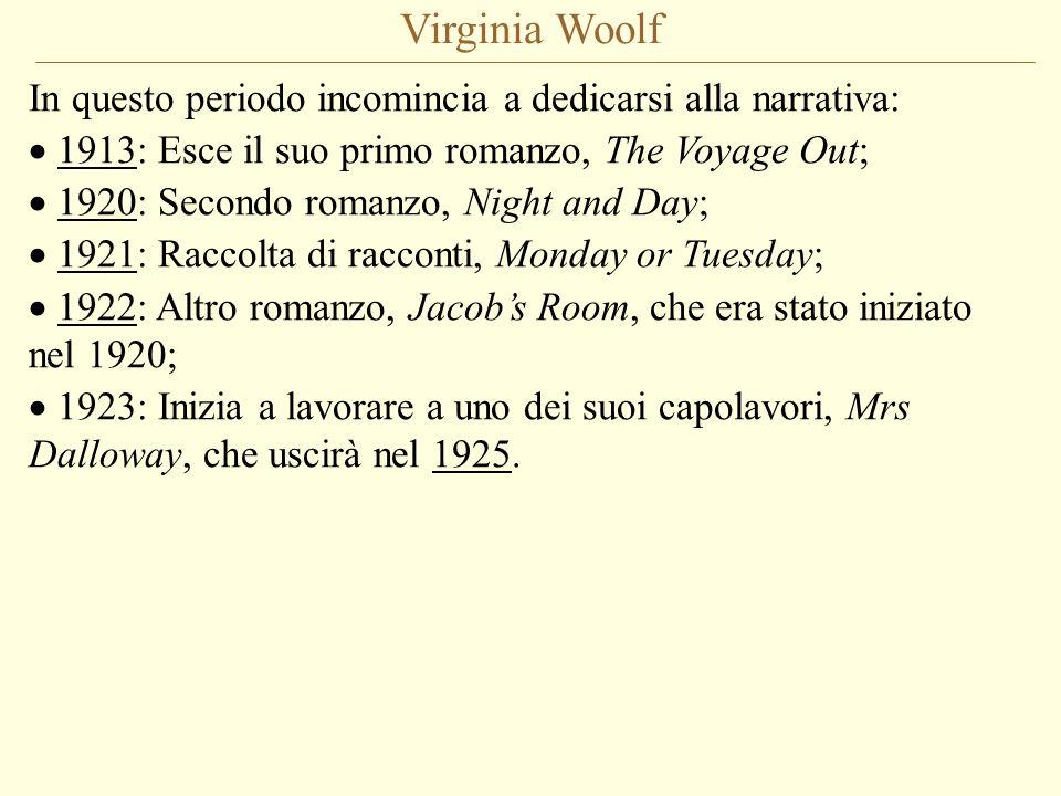 Virginia Woolf In questo periodo incomincia a dedicarsi alla narrativa: 1913: Esce il suo primo romanzo, The Voyage Out; 1920: Secondo romanzo, Night
