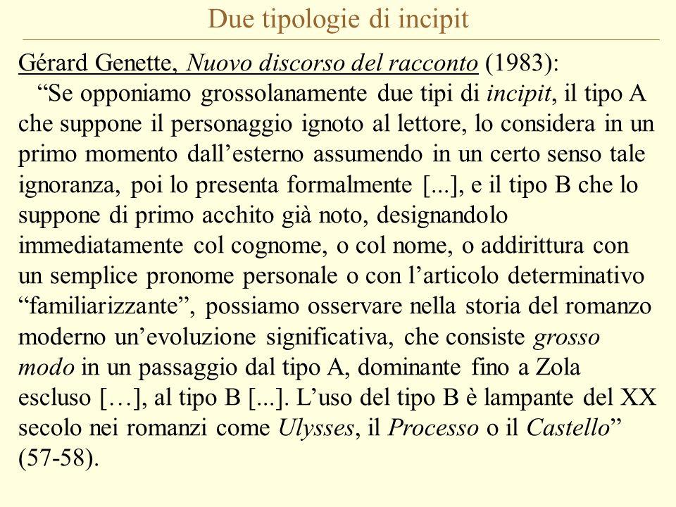 Due tipologie di incipit Gérard Genette, Nuovo discorso del racconto (1983): Se opponiamo grossolanamente due tipi di incipit, il tipo A che suppone i