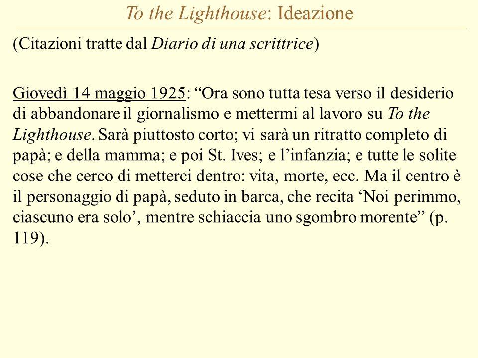 To the Lighthouse: Ideazione (Citazioni tratte dal Diario di una scrittrice) Giovedì 14 maggio 1925: Ora sono tutta tesa verso il desiderio di abbando