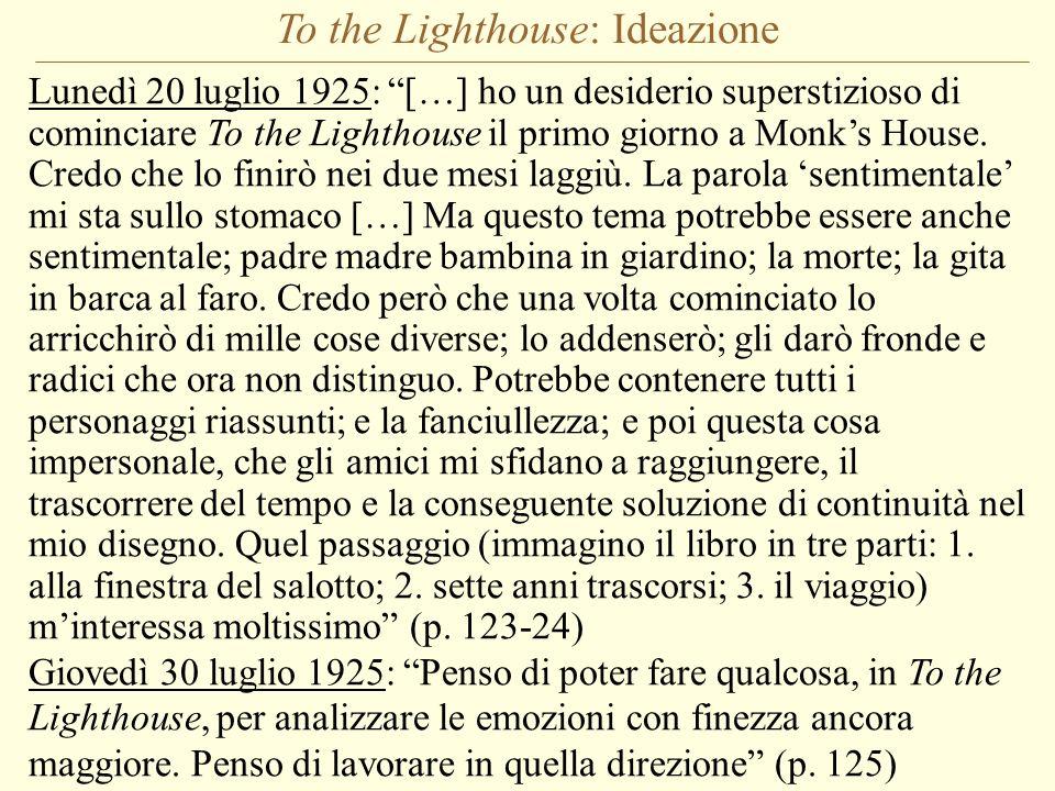 To the Lighthouse: Ideazione Lunedì 20 luglio 1925: […] ho un desiderio superstizioso di cominciare To the Lighthouse il primo giorno a Monks House. C