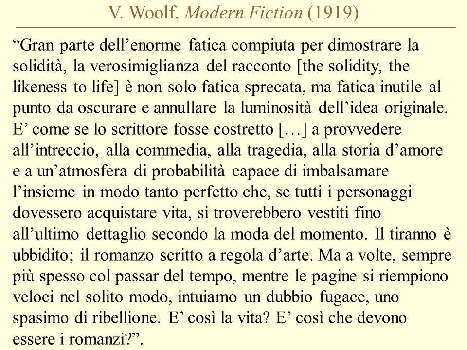V. Woolf, Modern Fiction (1919) Gran parte dellenorme fatica compiuta per dimostrare la solidità, la verosimiglianza del racconto [the solidity, the l