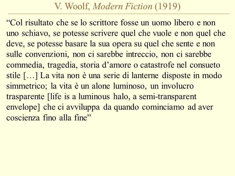 V. Woolf, Modern Fiction (1919) Col risultato che se lo scrittore fosse un uomo libero e non uno schiavo, se potesse scrivere quel che vuole e non que