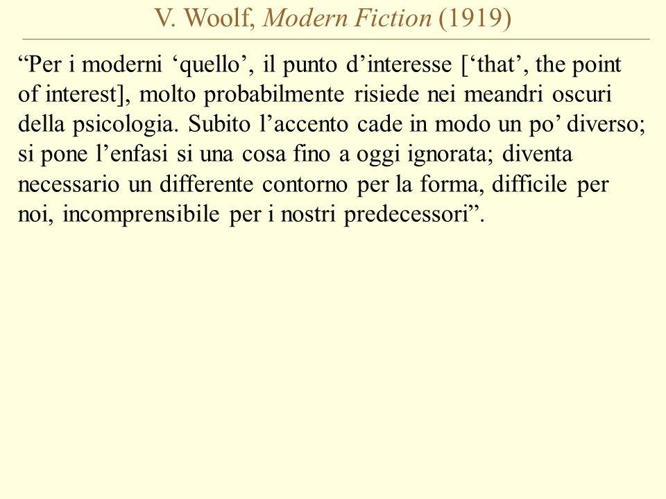 V. Woolf, Modern Fiction (1919) Per i moderni quello, il punto dinteresse [that, the point of interest], molto probabilmente risiede nei meandri oscur