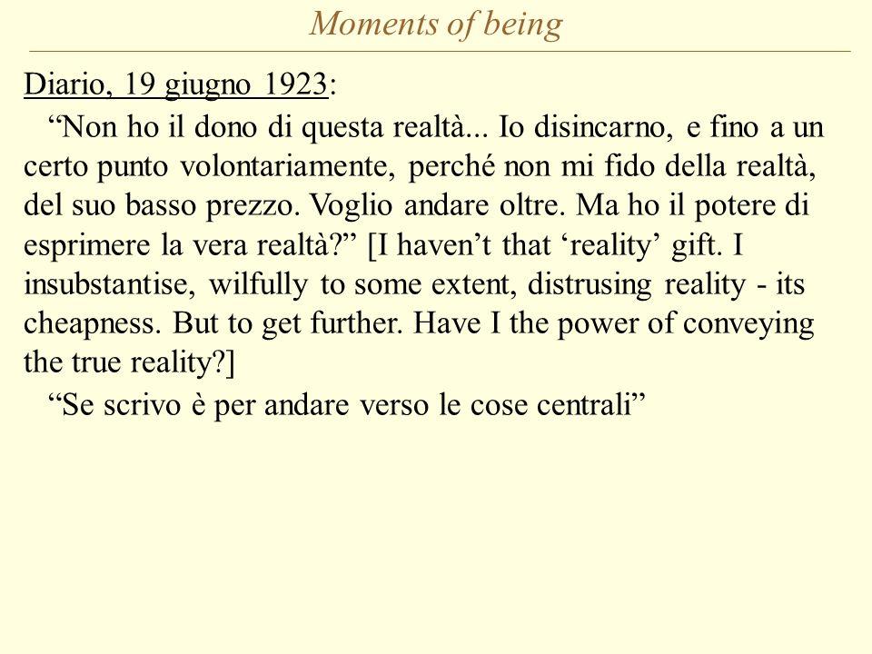 Moments of being Diario, 19 giugno 1923: Non ho il dono di questa realtà... Io disincarno, e fino a un certo punto volontariamente, perché non mi fido