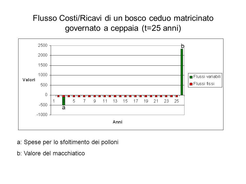 Flusso Costi/Ricavi di un bosco ceduo matricinato governato a ceppaia (t=25 anni) a a: Spese per lo sfoltimento dei polloni b: Valore del macchiatico a a a b