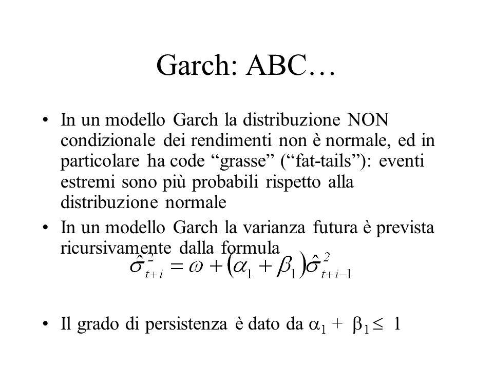 Garch: ABC… In un modello Garch la distribuzione NON condizionale dei rendimenti non è normale, ed in particolare ha code grasse (fat-tails): eventi e