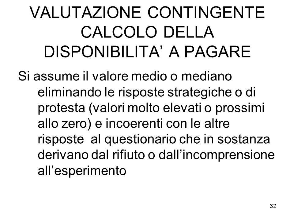 VALUTAZIONE CONTINGENTE CALCOLO DELLA DISPONIBILITA A PAGARE Si assume il valore medio o mediano eliminando le risposte strategiche o di protesta (val