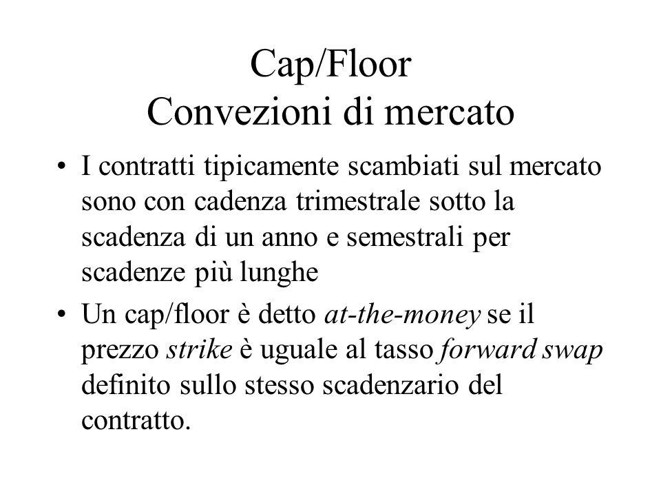 Cap/Floor Convezioni di mercato I contratti tipicamente scambiati sul mercato sono con cadenza trimestrale sotto la scadenza di un anno e semestrali p