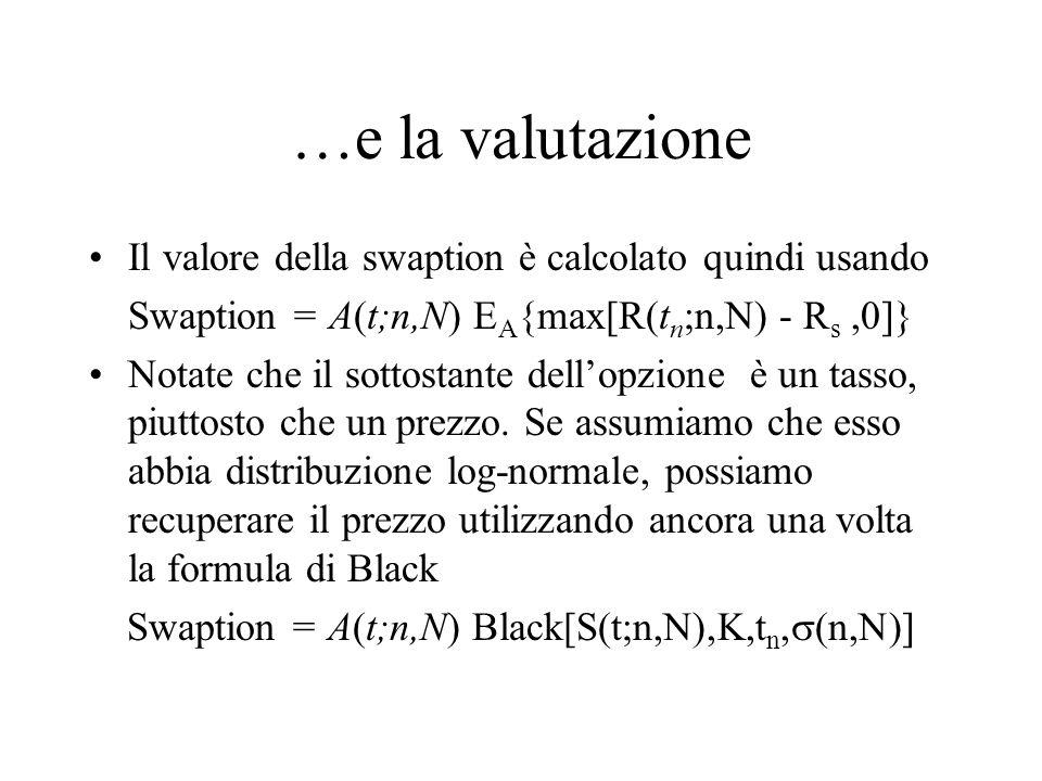 …e la valutazione Il valore della swaption è calcolato quindi usando Swaption = A(t;n,N) E A {max[R(t n ;n,N) - R s,0]} Notate che il sottostante dell