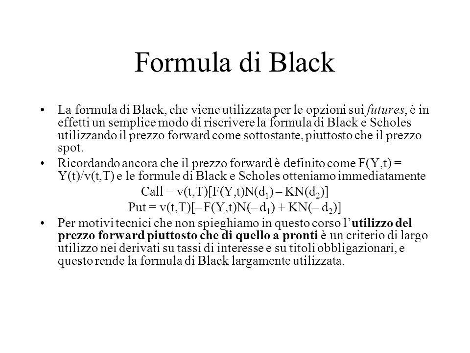 Formula di Black La formula di Black, che viene utilizzata per le opzioni sui futures, è in effetti un semplice modo di riscrivere la formula di Black