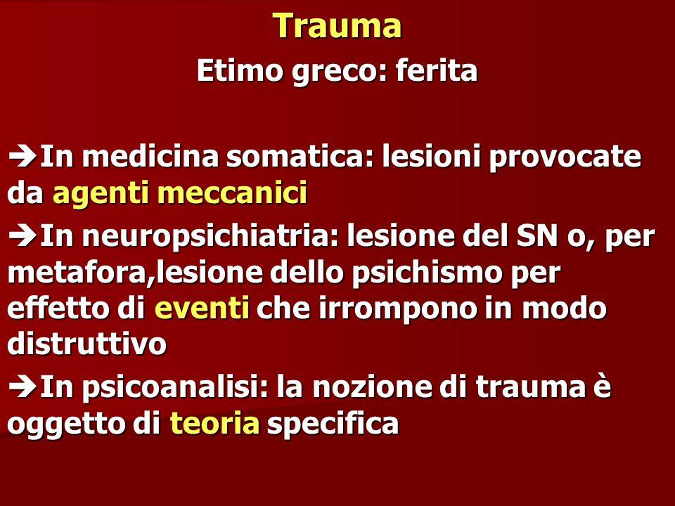 Trauma Etimo greco: ferita In medicina somatica: lesioni provocate da agenti meccanici In medicina somatica: lesioni provocate da agenti meccanici In