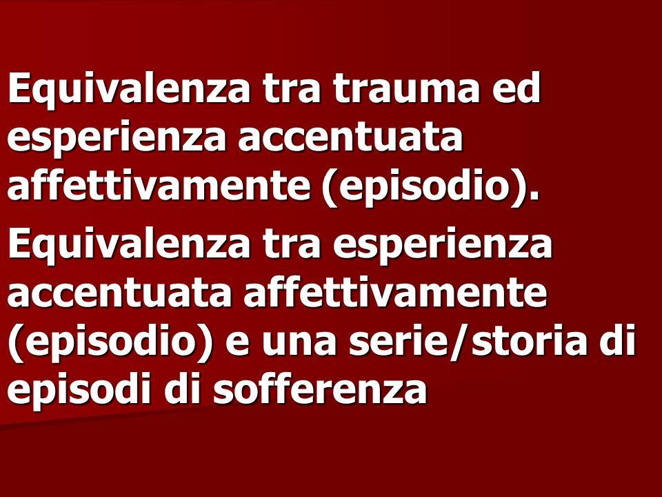 Equivalenza tra trauma ed esperienza accentuata affettivamente (episodio). Equivalenza tra esperienza accentuata affettivamente (episodio) e una serie