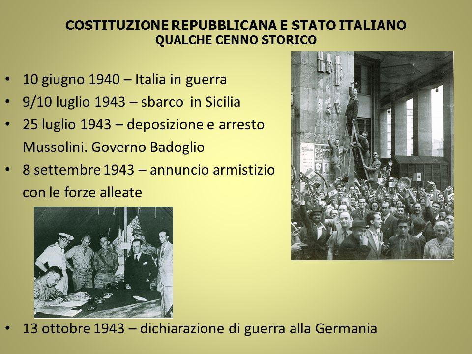 COSTITUZIONE REPUBBLICANA E STATO ITALIANO QUALCHE CENNO STORICO 10 giugno 1940 – Italia in guerra 9/10 luglio 1943 – sbarco in Sicilia 25 luglio 1943