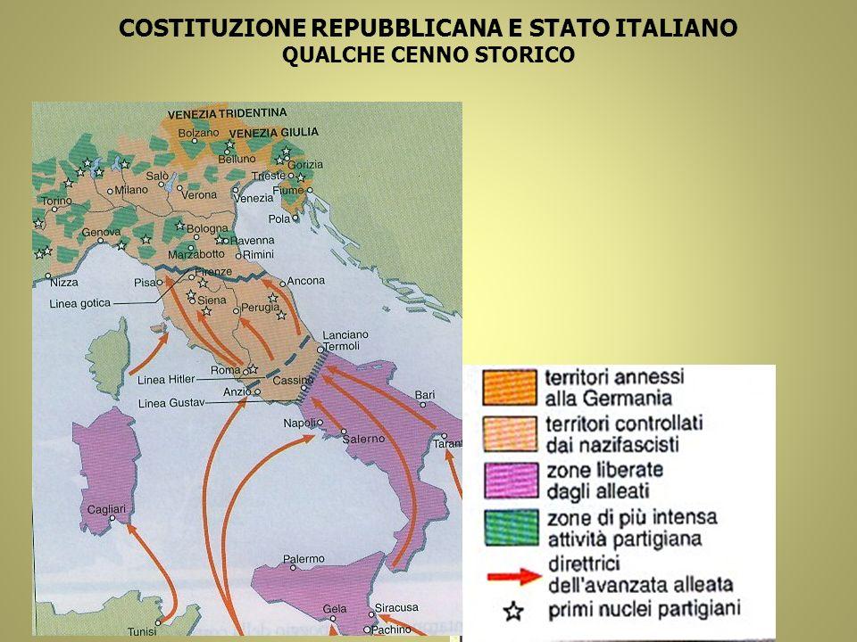 COSTITUZIONE REPUBBLICANA E STATO ITALIANO QUALCHE CENNO STORICO