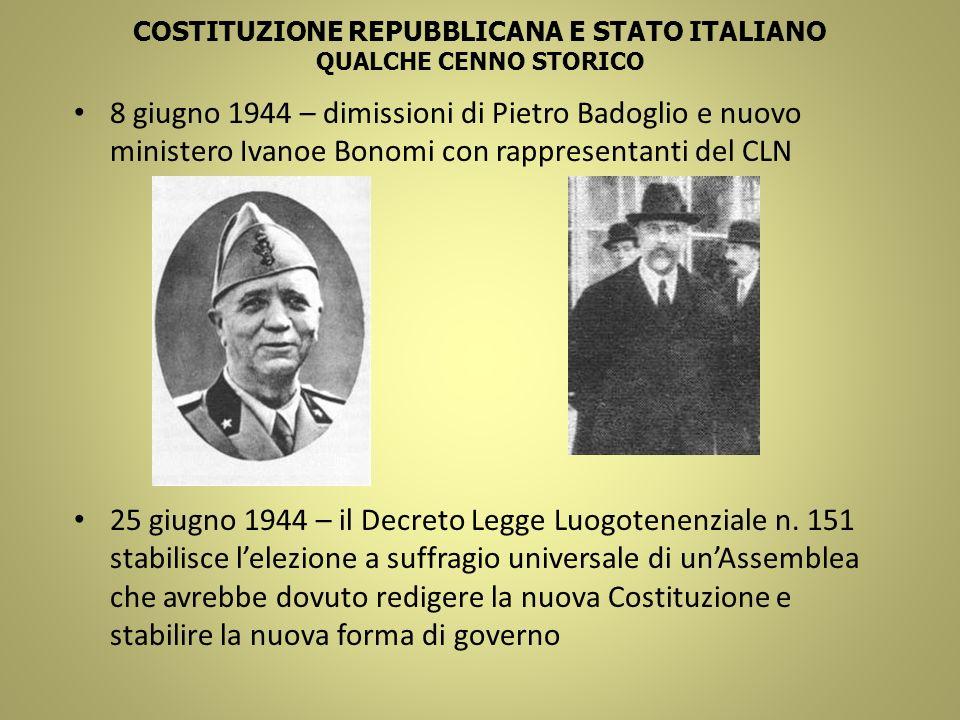 COSTITUZIONE REPUBBLICANA E STATO ITALIANO QUALCHE CENNO STORICO 8 giugno 1944 – dimissioni di Pietro Badoglio e nuovo ministero Ivanoe Bonomi con rap