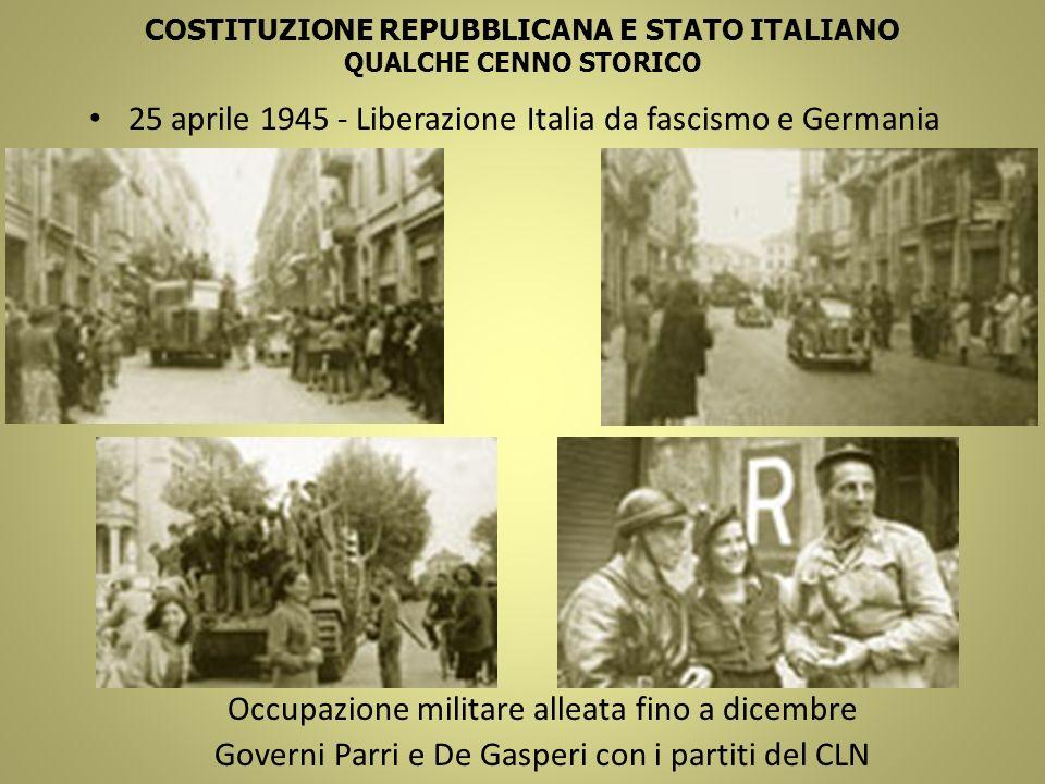 COSTITUZIONE REPUBBLICANA E STATO ITALIANO QUALCHE CENNO STORICO 25 aprile 1945 - Liberazione Italia da fascismo e Germania Occupazione militare allea