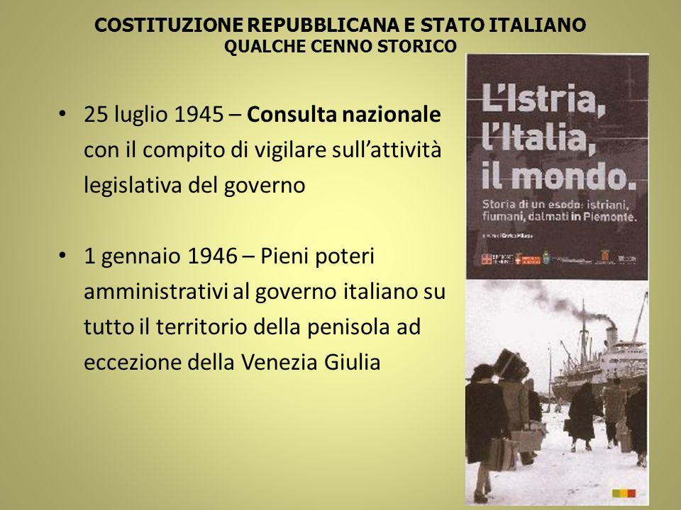 COSTITUZIONE REPUBBLICANA E STATO ITALIANO QUALCHE CENNO STORICO 25 luglio 1945 – Consulta nazionale con il compito di vigilare sullattività legislati