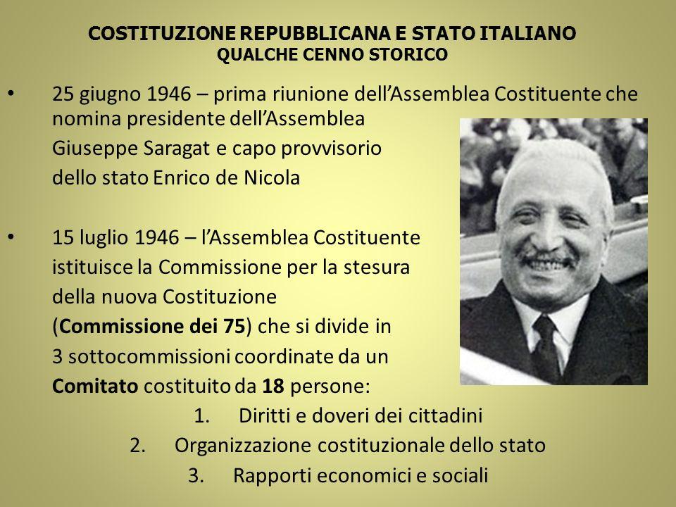 COSTITUZIONE REPUBBLICANA E STATO ITALIANO QUALCHE CENNO STORICO 25 giugno 1946 – prima riunione dellAssemblea Costituente che nomina presidente dellA