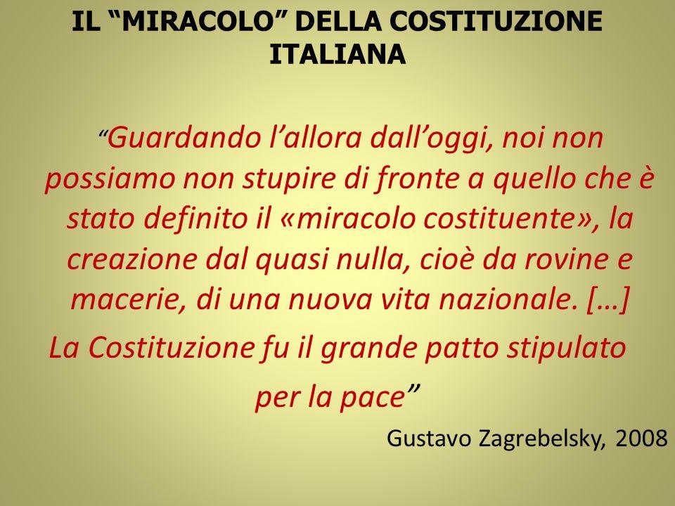 IL MIRACOLO DELLA COSTITUZIONE ITALIANA Guardando lallora dalloggi, noi non possiamo non stupire di fronte a quello che è stato definito il «miracolo