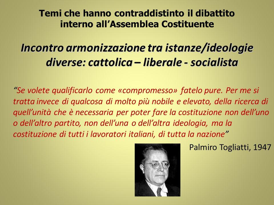 Temi che hanno contraddistinto il dibattito interno allAssemblea Costituente Incontro armonizzazione tra istanze/ideologie diverse: cattolica – libera