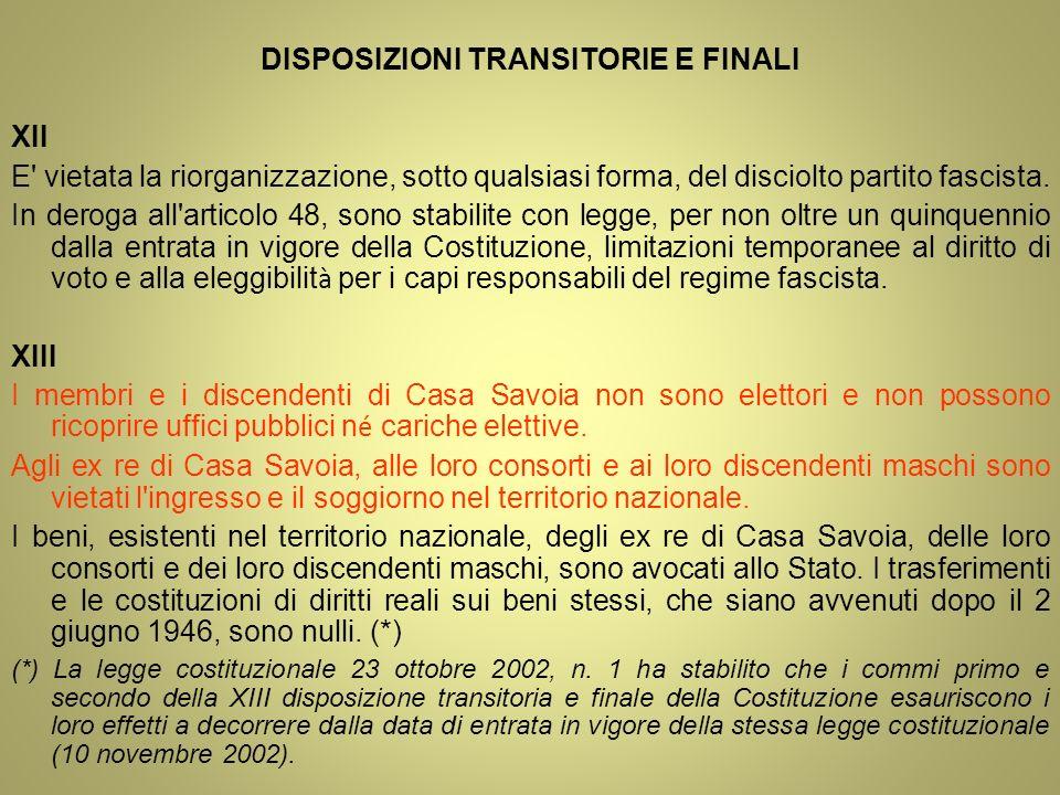 DISPOSIZIONI TRANSITORIE E FINALI XII E' vietata la riorganizzazione, sotto qualsiasi forma, del disciolto partito fascista. In deroga all'articolo 48