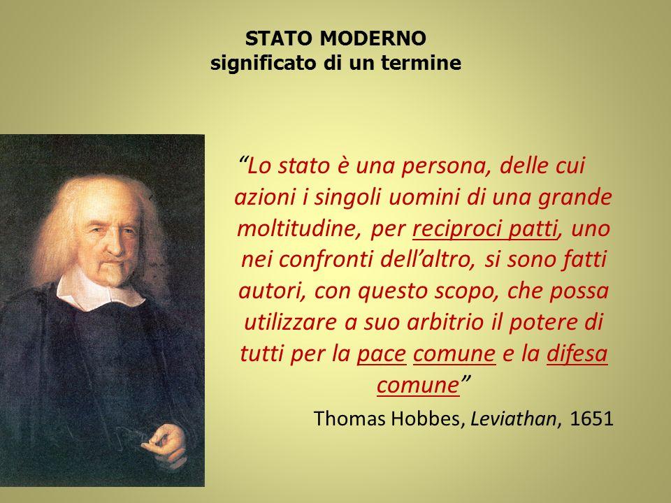 STATO MODERNO significato di un termine Lo stato è una persona, delle cui azioni i singoli uomini di una grande moltitudine, per reciproci patti, uno