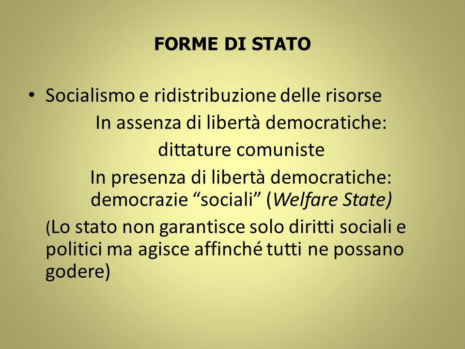 FORME DI STATO Socialismo e ridistribuzione delle risorse In assenza di libertà democratiche: dittature comuniste In presenza di libertà democratiche: