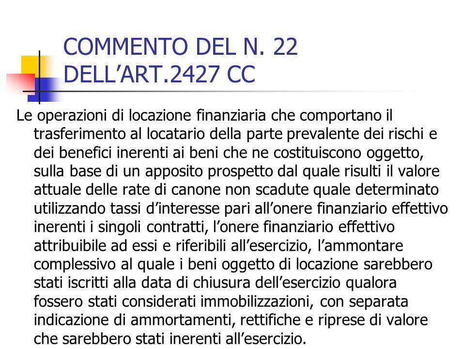 COMMENTO DEL N. 22 DELLART.2427 CC Le operazioni di locazione finanziaria che comportano il trasferimento al locatario della parte prevalente dei risc