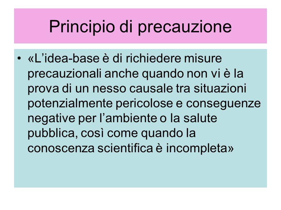 Principio di precauzione «Lidea-base è di richiedere misure precauzionali anche quando non vi è la prova di un nesso causale tra situazioni potenzialm