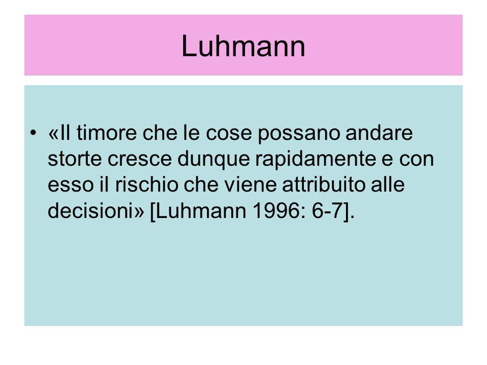 Luhmann «Il timore che le cose possano andare storte cresce dunque rapidamente e con esso il rischio che viene attribuito alle decisioni» [Luhmann 199