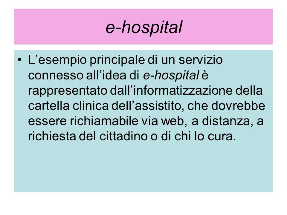 e-hospital Lesempio principale di un servizio connesso allidea di e-hospital è rappresentato dallinformatizzazione della cartella clinica dellassistit